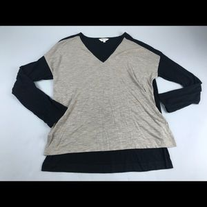 Madewell Colorblock Anthem Long Sleeve V Neck Top
